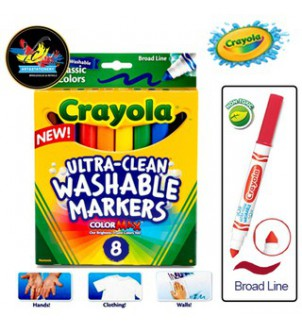 【現貨】Crayola Washable Markers Board 8色粗頭可水洗水彩筆