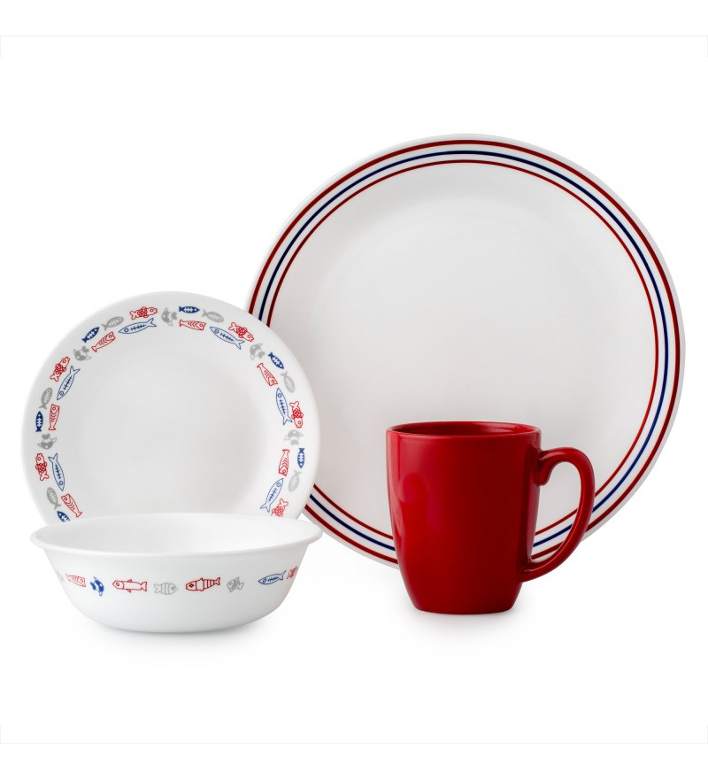【現貨】 美國康寧 Corelle Livingware Harbour Town 16-Pc Set