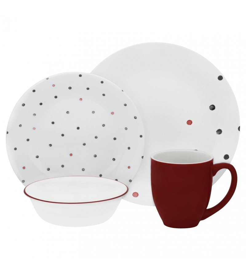 【現貨】 美國康寧 Corelle Livingware Polka Dottie 16-Pc Set
