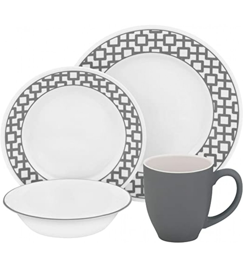 【現貨】 美國康寧 Corelle Livingware Urban Grid Gray 16-Pc Set